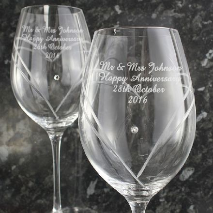 Personalised Hand Cut Diamonte Heart Wine Glasses With Swarovski Elements